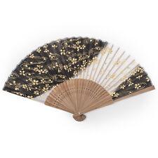 Black Cherry Blossom Japanese Folding Fan