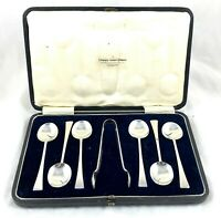 CASED SILVER SPOONS AND TONG SET UNUSUAL DESIGN FOR ERA *** SHEFFIELD 1919 ***