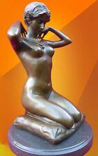 ART DECO BRONZE STATUE NEW NECKLACE SIGNED Ponsard FIGURE HOT CAST NUDE FIGURINE