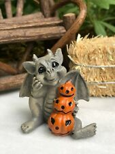 Miniature Dollhouse Fairy Garden ~ Mini Halloween Baby Gargoyle w Pumpkin Stack