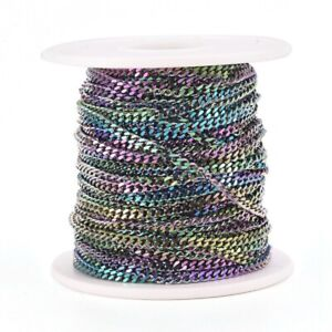 2 FT Rainbow Chain BULK Chain for Jewelry Making Cross Stainless Steel