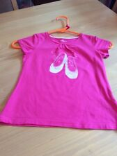 girls clothes 8 years Dark Pink Stretch Cotton Ballet Shoes Short Sleeved Top