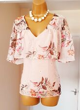 RIVER ISLAND Pink Floral Chiffon Floaty Cape Summer Holiday Blouse Top - Size 14