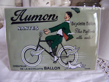 plaque en métal cycles AUMON bicyclette ballon vélo rétro vintage 20cm tin sign