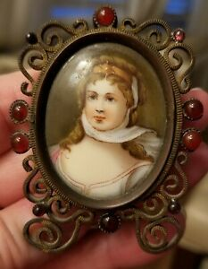 Antique Miniature Portraiture Queen Louise of Prussia in Jeweled Frame
