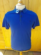 Fred Perry Short Sleeve Polo Shirt Medium Slim Fit Blue Polka Dot