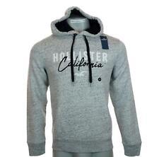 New Men's Hollister Hoodie Sweatshirt Fleece Lined M L XL Embroidered Grey