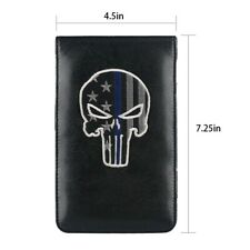 New Skull Skeleton Black Pu Leather Golf Scorecard Yardage Book Holder Cover