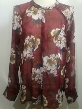 Kut From The Kloth Women's Top Blouse Size Large Sheer Floral Boho Long Sleeve
