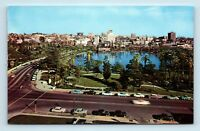 Los Angeles, CA - VINTAGE AERIAL OF OLD CARS AT MACARTHUR PARK - POSTCARD - M5