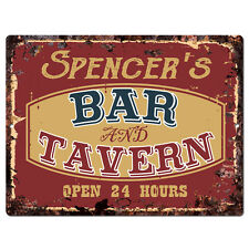 PPBT0384 SPENCER'S BAR and TAVERN Rustic Tin Chic Sign Home Store Decor Gift