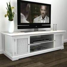 47 Inch Wide Pinewood TV Stand Storage Console Four Shelves with Two Doors White