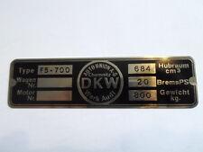 Targa Ì Oldtimer Targhetta DKW F5 F 5 700 Identificazione s33