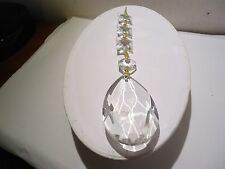 FACETED CLEAR CRYSTAL TEARDROP CHANDELIER LAMP PART PRISM SUNCATCHER W/ DIAMOND