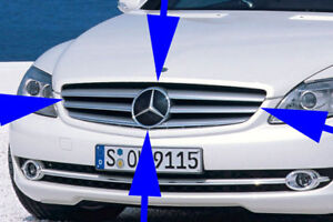 MERCEDES BENZ W216 CL CLASS FRONT GRILL ASSEMBLY SILVER DISTRONIC GENUINE 07-10