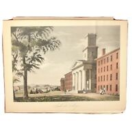 Antique Print Etching Hand Coloring- Amherst College Greek Revival Architecture