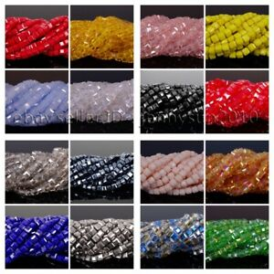 100 Pcs Top Quality Czech Crystal Faceted Square Cube Loose Spacer Beads 4mm 6mm