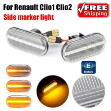 Pair Clear Sequential LED Side Marker Turn signal Light for Renault Clio1 Clio2