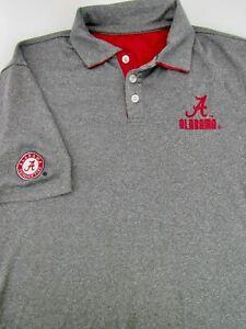 Colosseum Alabama Crimson Tide Gray Golf Polo Shirt Men Sz M