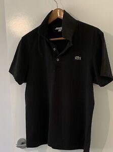 Black Men's Lacoste Polo size 4. US M 100% Cotton