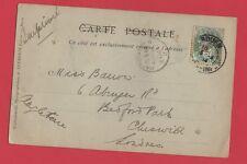 belle Carte ancienne - ville de Rouen à destination de Londres- Année :1904