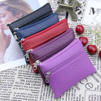 Women Men Leather Wallet zipper Leather Coin Purse Card Holder Wallet Handbag C