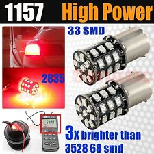 2x 1157/3496/2057 Red Brake Tail Stop 33-SMD LED Dual Filament Lamp Light Bulbs