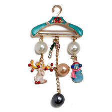 Christmas Pearl Brooch Deer Snowman Pendant Jewelry Rhinestone Brooches FO