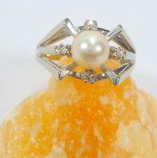 Unbehandelte Perlen-Ringe aus Weißgold mit Diamanten