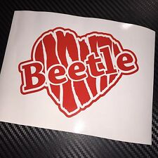 RED Beetle Slashed Heart Car Sticker Decal VW VAG VDUB Bug