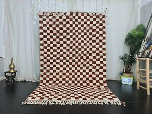 "Moroccan Handmade Beni Ourain Carpet 5'4""x8'6"" Checkered White Brown Berber Rug"