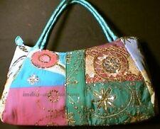Sari Bag Boho Vintage Patchwork Handmade Beaded Embroidery LG  BLUE PINK