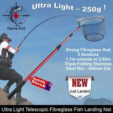 NEW 2.2M TELESCOPIC FISHING FISH SCOOP LANDING NET FIBRE GLASS ROD WEIGHT - 250G