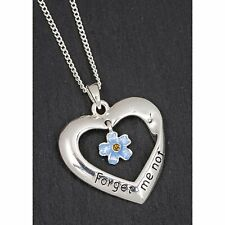 Equilibrium Silver Plated Forget Me Not Heart Necklace Jewellery Ladies Gift