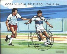 Nicaragua block183 (complete issue) used 1989 Football-WM 1990