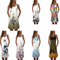 Summer Women Vintage Sleeveless 3D Floral Print Bohe Retro Tank Short Mini Dress