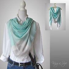 Sommer Tuch Halstuch Schultertuch Kopftuch Schal Pastell Farben - grün weiß grau
