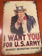 """""""I WANT YOU FOR US ARMY"""" UNCLE SAM metal sign 8"""" x 12""""  #A11"""