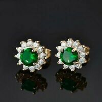 2 Ct Round Cut Emerald Diamond Halo Cluster Stud Earrings 14K Yellow Gold Finish