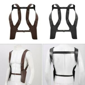 Mens Gothic Holster Belt Accessory Adjustable PU Leather Double Shoulder_Gift