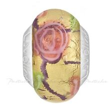 Lovelinks Bead Sterling Silver, Murano Glass Gold Foil Pink Roses Jewelry TM405