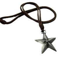 Star Vintage Men Women Bronze Fashion Pendant Charm Retro Brown Leather Necklace