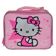 HELLO KITTY School Insulated Soft Snack Lunch Bag Kids Girls Pink Star NEW