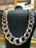 """925 SOLID Sterling Silver HEAVY Diamond Cut Curb Chain Necklace 26"""" - 14mm NEW"""