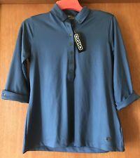 NWT Women's Royal Blue OGIO Medium Top Shirt Blouse, 3/4 Buttoned Down New