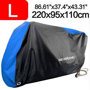 Large Blue Motorcycle Motorbike Cover Waterproof Outdoor Rain Dust UV Protector