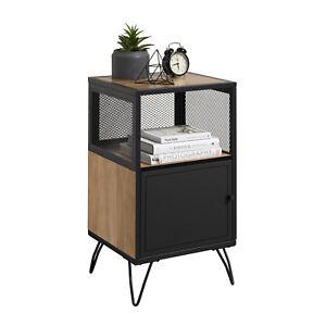 Wire Mesh Industrial Side Table With Hairpin Legs - Oak Effect & Matt Black