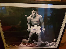 Muhammad Ali Signed M/Memor 30x40 Liston BW Photo Fram Sports Boxing Memorabilia