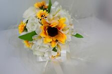 Bridesmaid Bouquet Sunflower and Ivory roses other colours available