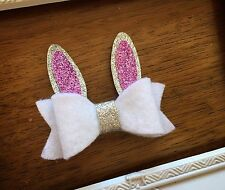 Easter Bunny Bow - Handmade Felt Glitter Hair Accessory